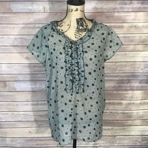 The Limited Polka Dot Top with Ruffle Accents